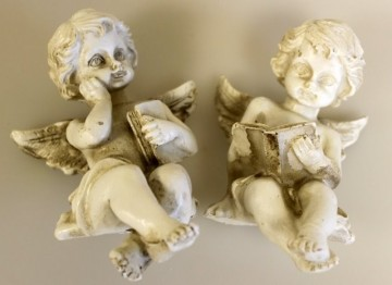 Vintage Reading Cherubs 5 cm