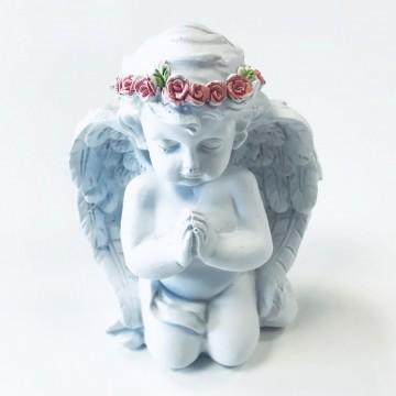 Angel Praying with Pink Roses 12 cm