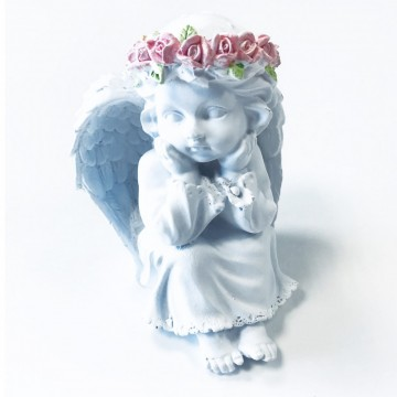 Angel Waiting with Pink Roses 13,5 cm