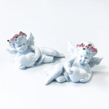 Angel with Heart and Pink Roses  6 cm