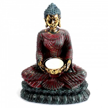 Antique Buddha - Devotee telysholder 20 cm