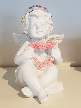 Angel with Pink Heart Roses  12 cm