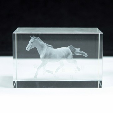 Laser Crystal Block - Running Horse