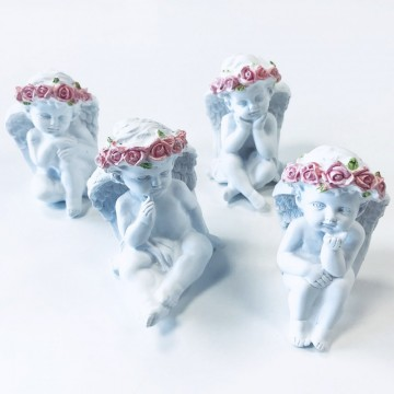 Angel Sitting and Thinking with Pink Roses  10 cm