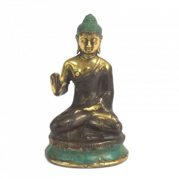 Buddha sittende meditering medium i messing 10 cm