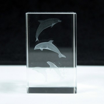 Laser Crystal Block - Four Dolphins