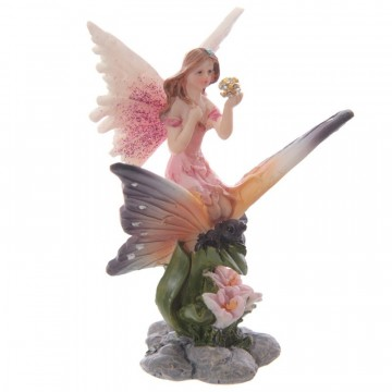Flower Fairy Riding a Butterfly, rosa 10 cm
