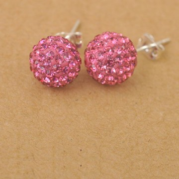 Disco Beads 10 mm, 925 sølv, Rhinkrystaller Lys Rose