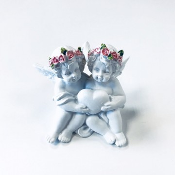 Angels Holding Heart with Pink Roses  6 cm